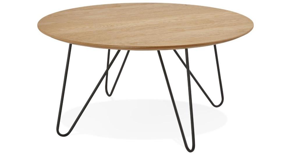 Table basse ronde en bois naturel Tigrou