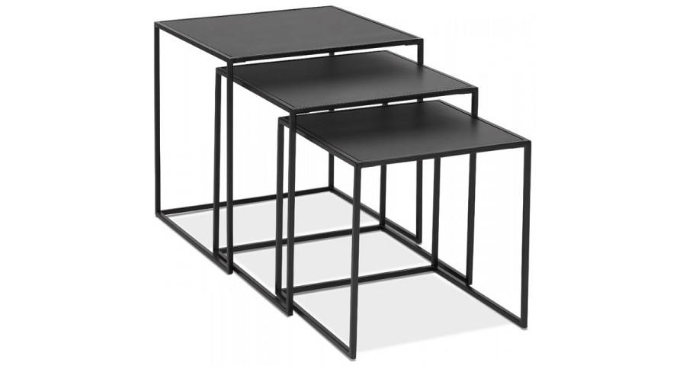 Tables basses gigognes en métal et bois noir Raven
