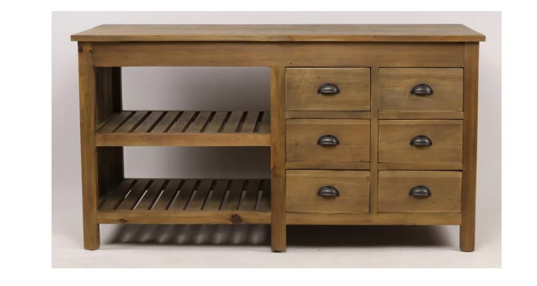 Meuble De Cuisine Industriel meuble de cuisine industriel, rustique en bois recyclé norris