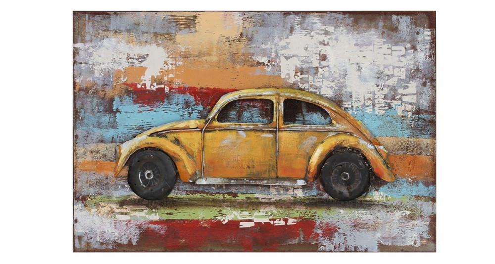 Tableau voiture Coccinelle jaune 60 x 40 cm