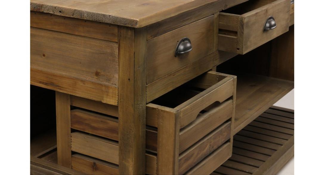 Îlot central de cuisine industriel avec rangement en bois Trident