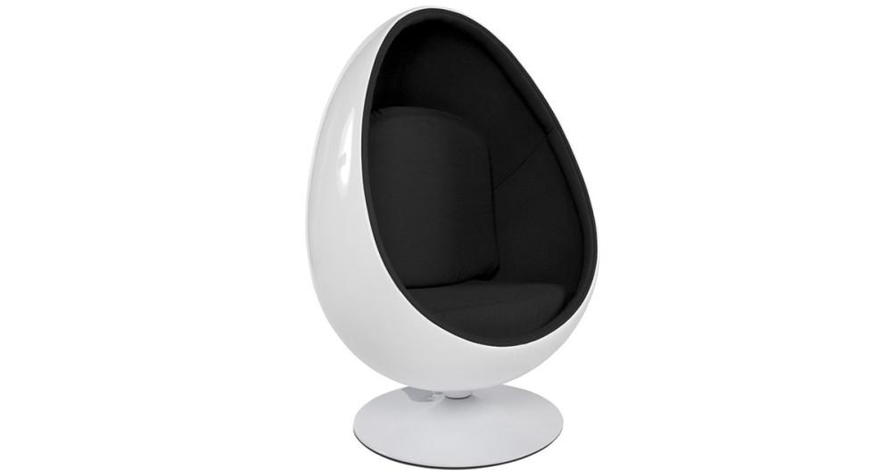 Fauteuil œuf bicolore blanc et noir Raphael