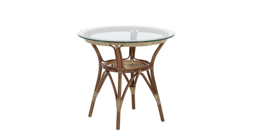 Table en verre et rotin