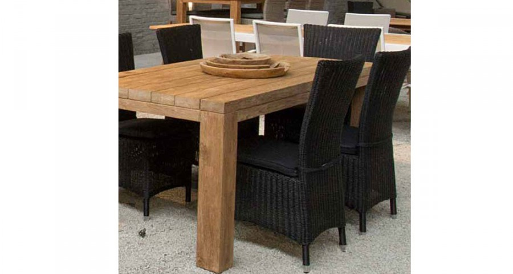Table de repas jardin haut de gamme rectangulaire en teck recyclé Rustic
