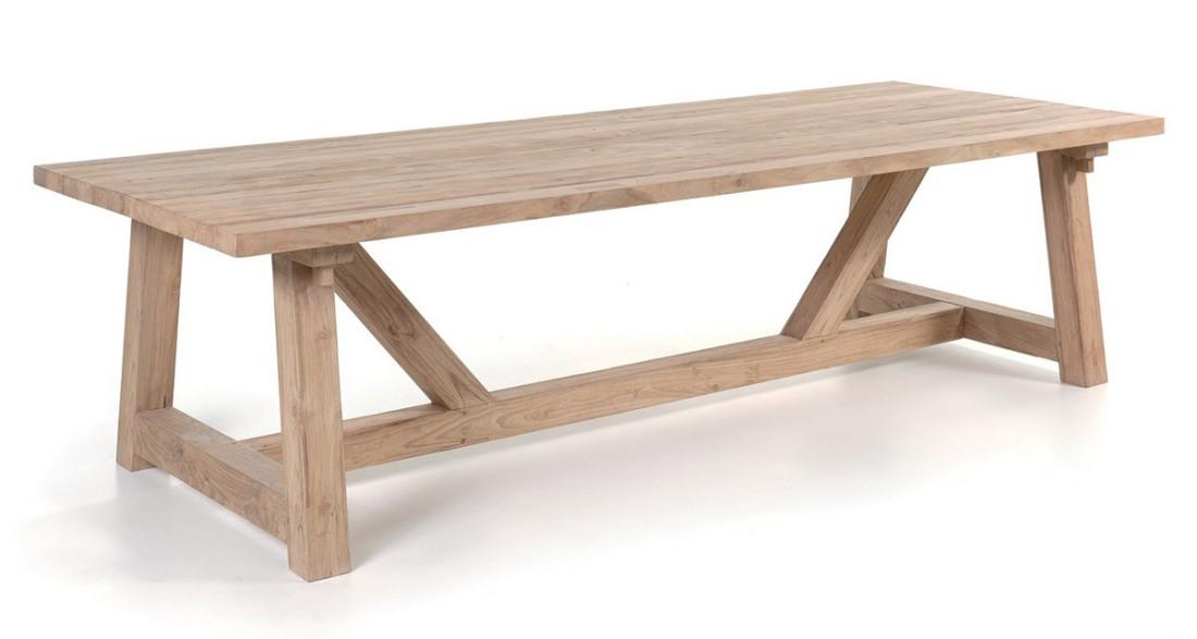 Table de jardin campagnarde 300 cm en teck recyclé Highland