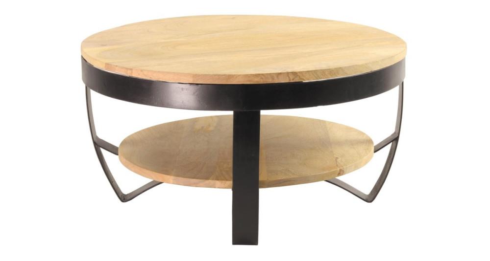 Table Basse Ronde Industrielle En Bois Et Metal Diametre 65 Cm