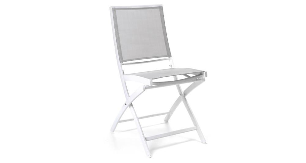 Lot 4 chaises pliantes en toile et alu Niolon