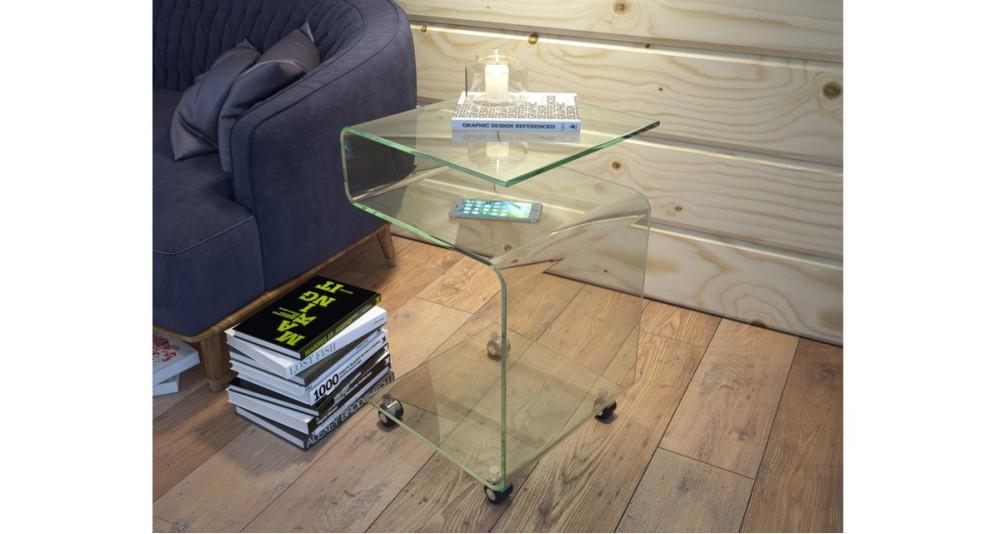 Bout de canapé à roulettes en verre Livia