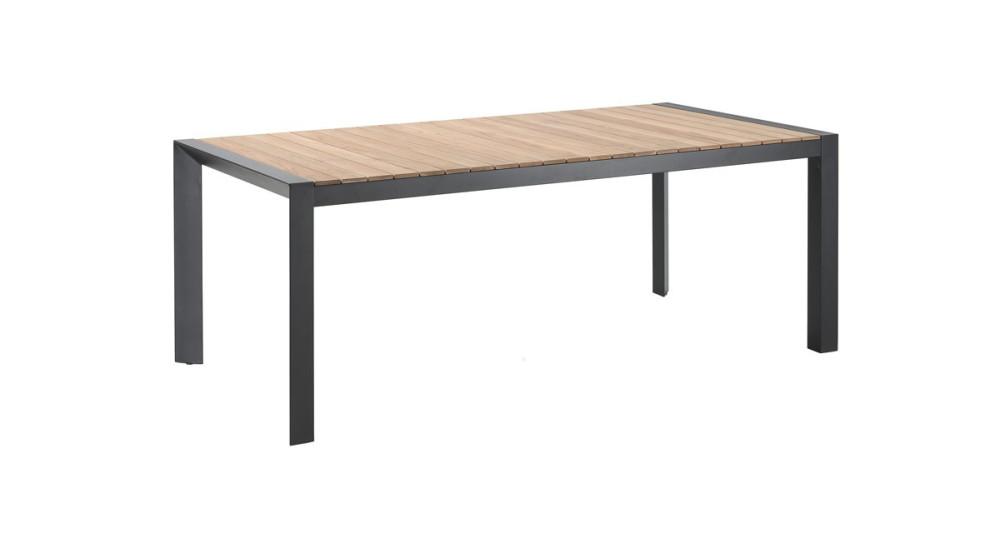 Table en métal noir et plateau en teck Evora