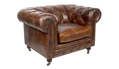 Fauteuil chesterfield cuir marron Delaware
