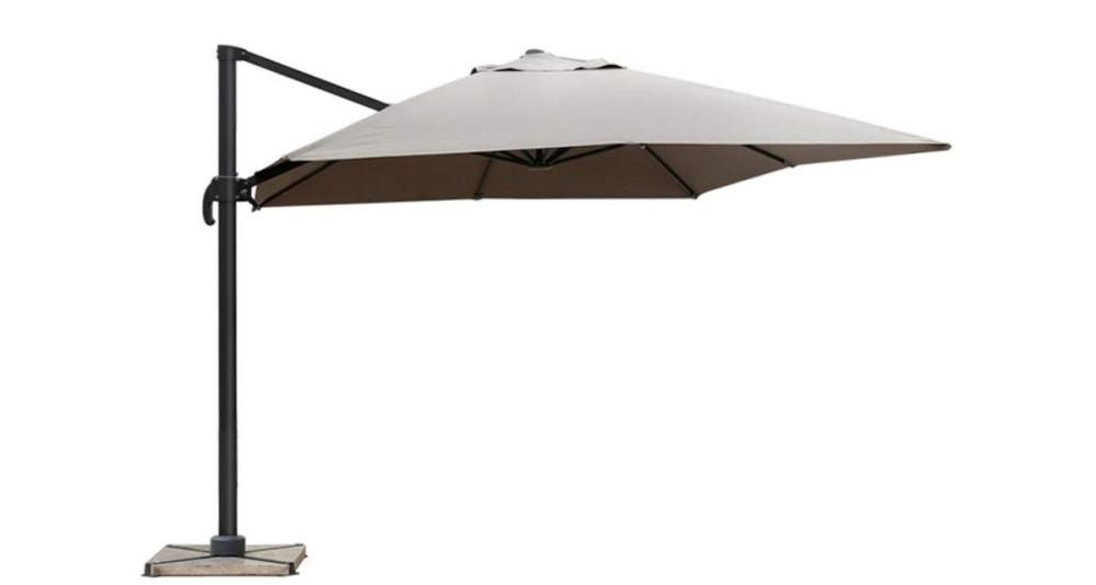 Parasol déporté carré 300 cm taupe Bermudes