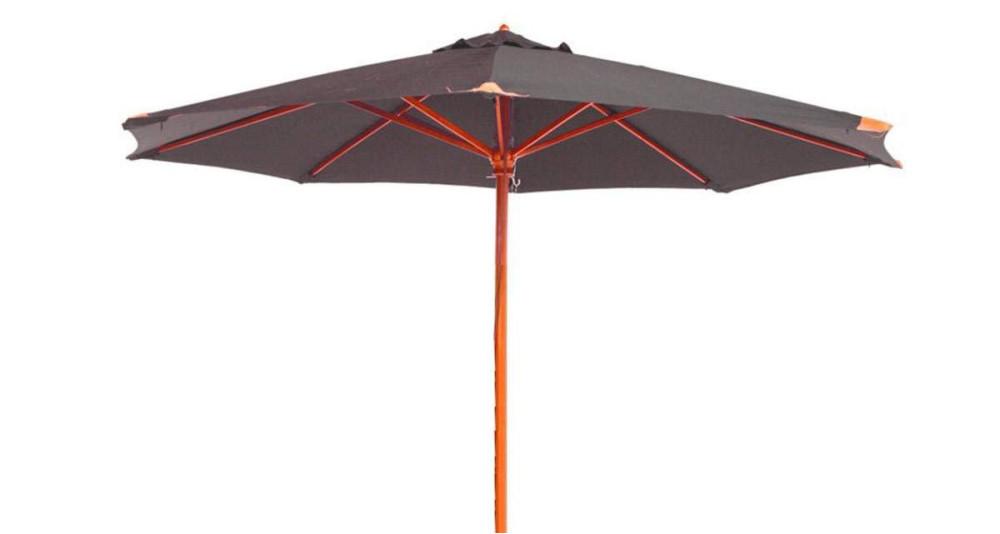 Parasol bois toile ronde 350 cm grise Fuerteventura