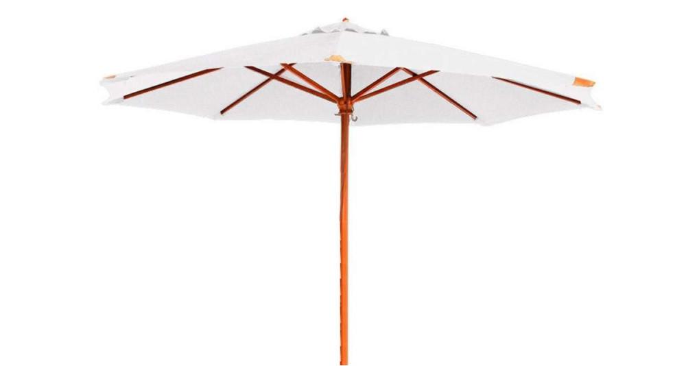Parasol bois rond diamètre 350 cm écru Fuerteventura
