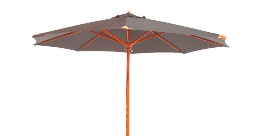 Parasol bois toile ronde 350 cm taupe Fuerteventura