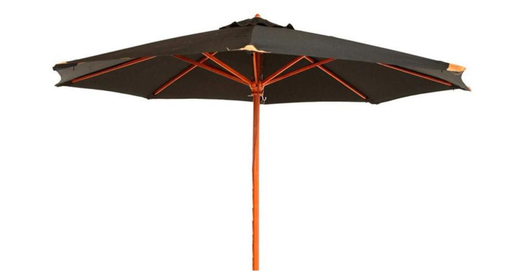 Parasol bois toile noire diamètre 350 cm Fuerteventura