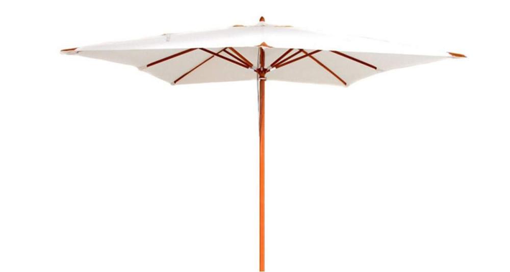 Parasol bois carré 3 x 3 m écru Belle-Île