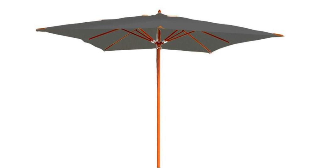 Parasol bois toile carrée grise 3 x 3 m Belle-Île