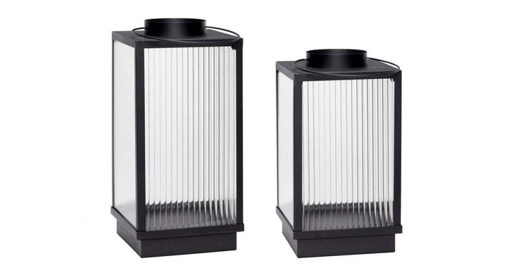 Lot 2 lanternes en verre et métal noir Ninni