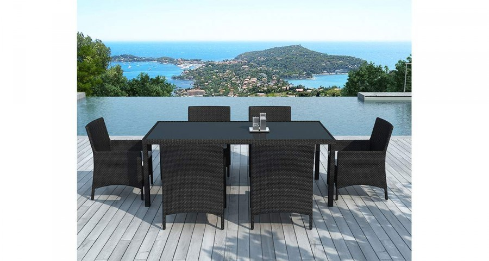 Table + 6 chaises en résine tressée noire Angel