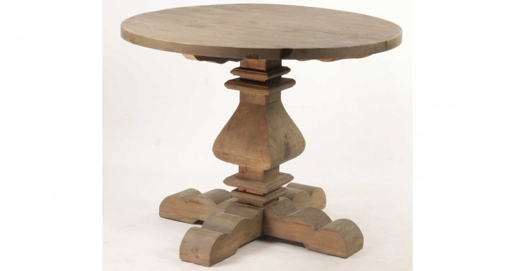 Table ronde 120 cm en bois ancien Folkston