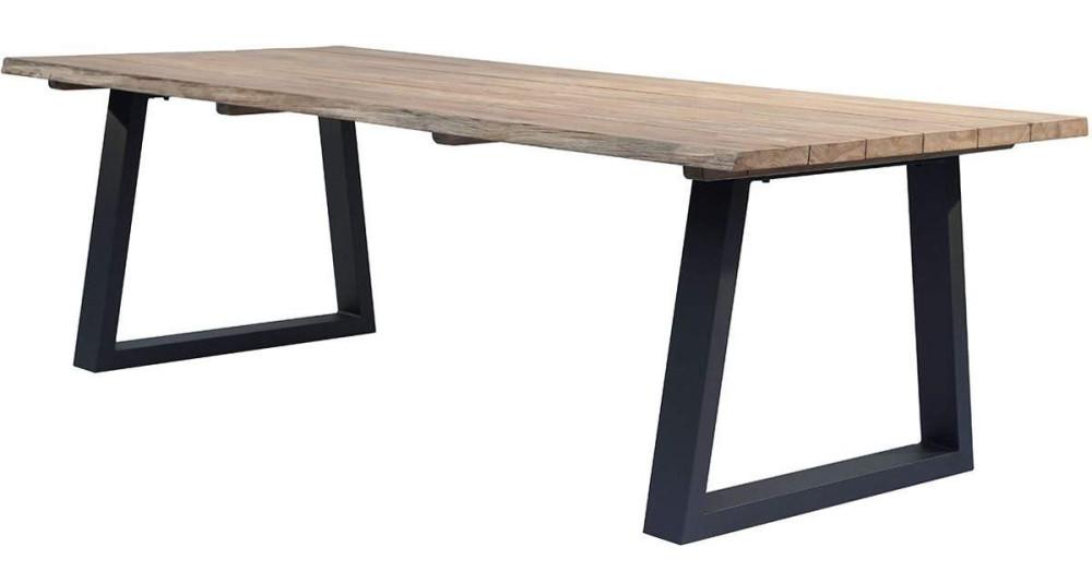 Table brute en teck et pieds noirs Sequoïa