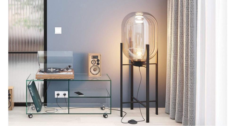 Lampadaire 90 cm bulbe en verre Salentine