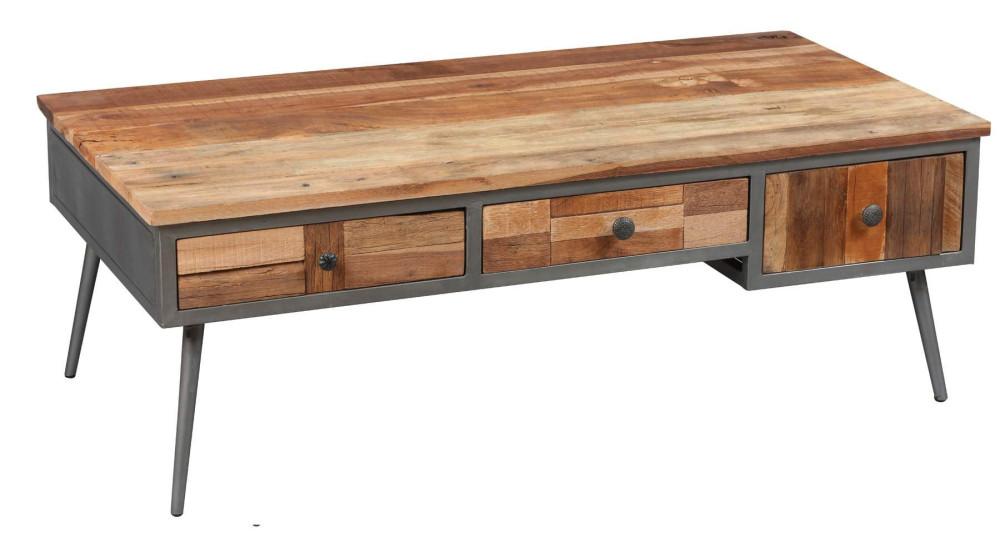 Table basse en bois effet patchwork Bombay
