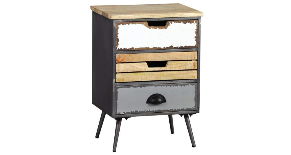 Chevet 3 tiroirs industriel, vintage Faktory
