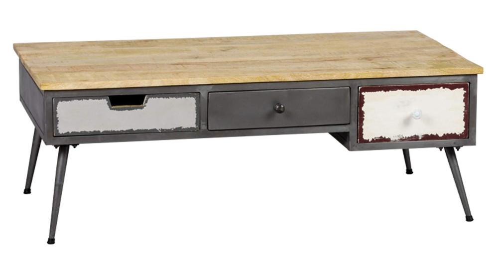 Table basse 3 tiroirs industrielle Faktory