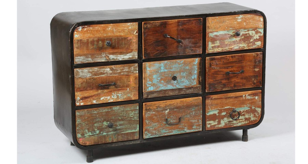 Commode 9 tiroirs en bois de récup Industrial