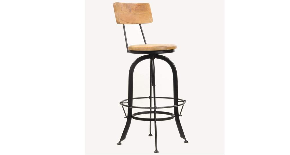 Chaise de bar bois et fer réglable Rannoch