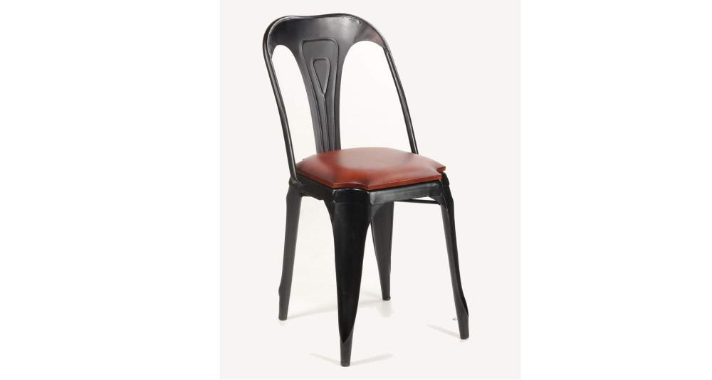 Lot 2 chaises industrielles en cuir et métal Dumbell