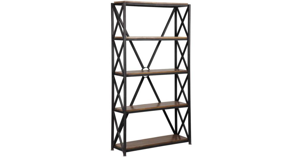 Étagère 4 niveaux métal et bois Warehouse