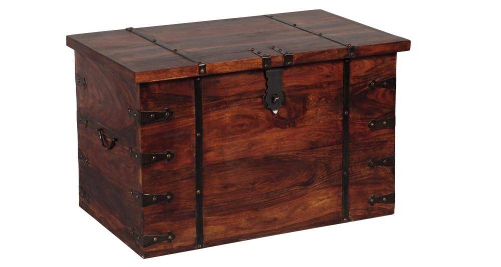 Coffre en bois massif couleur acajou Treasure