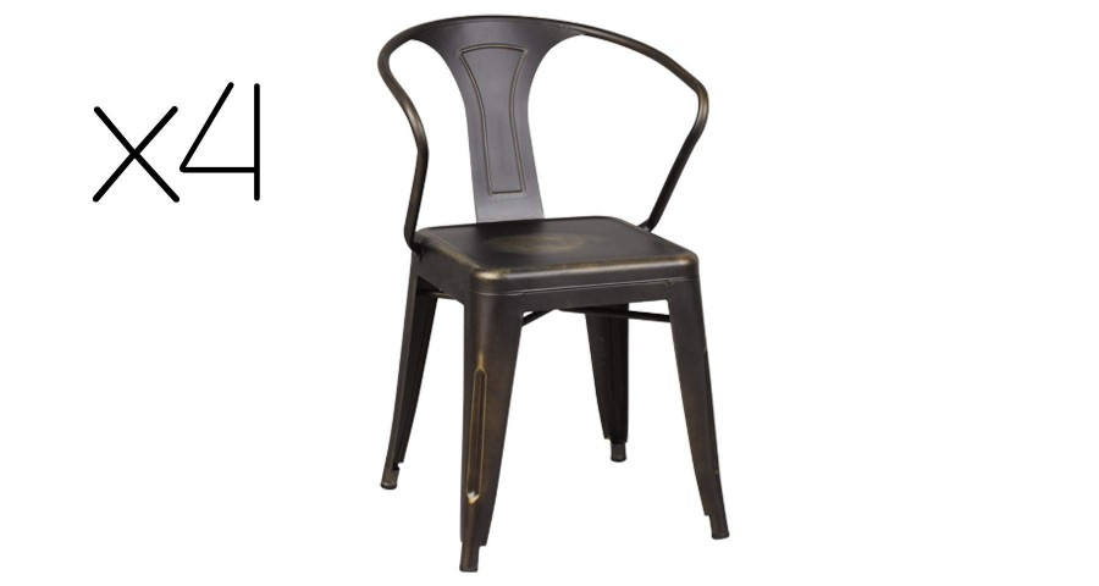 Lot 4 chaises en acier massif patiné Fabrika