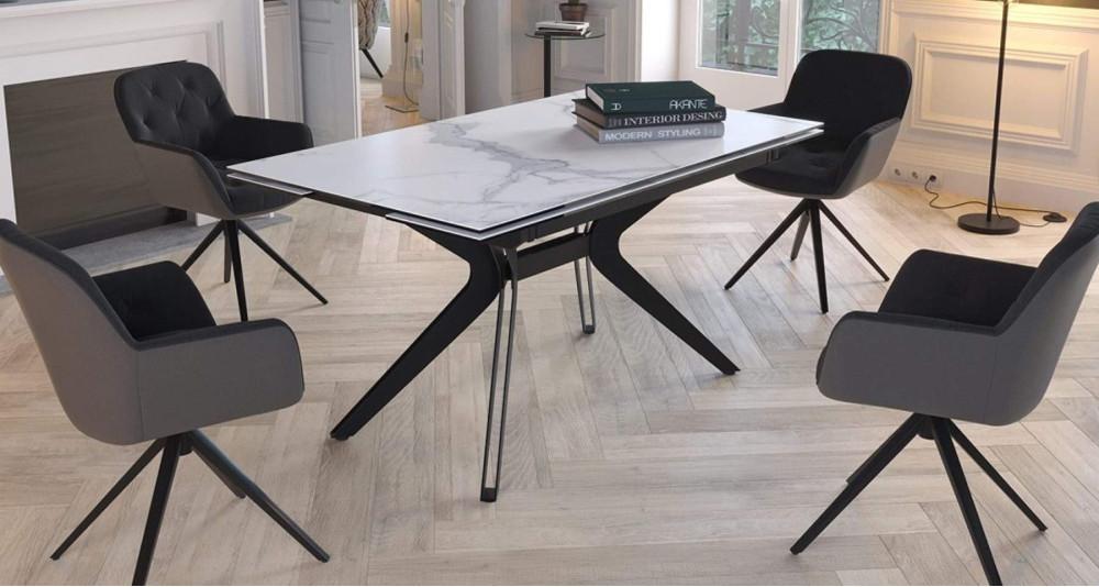 Table extensible rectangle/carrée en céramique marbre Elegance