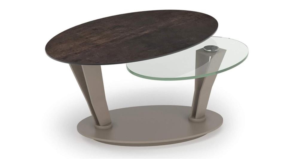 Table basse ovale bicolore à plateaux pivotants Hexane