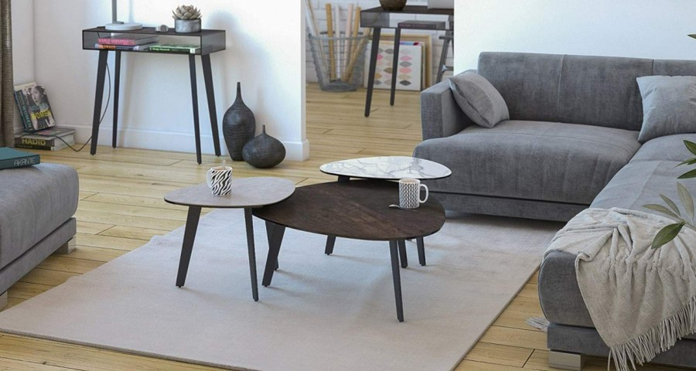 Table basse forme galet en céramique Stella - 4 coloris