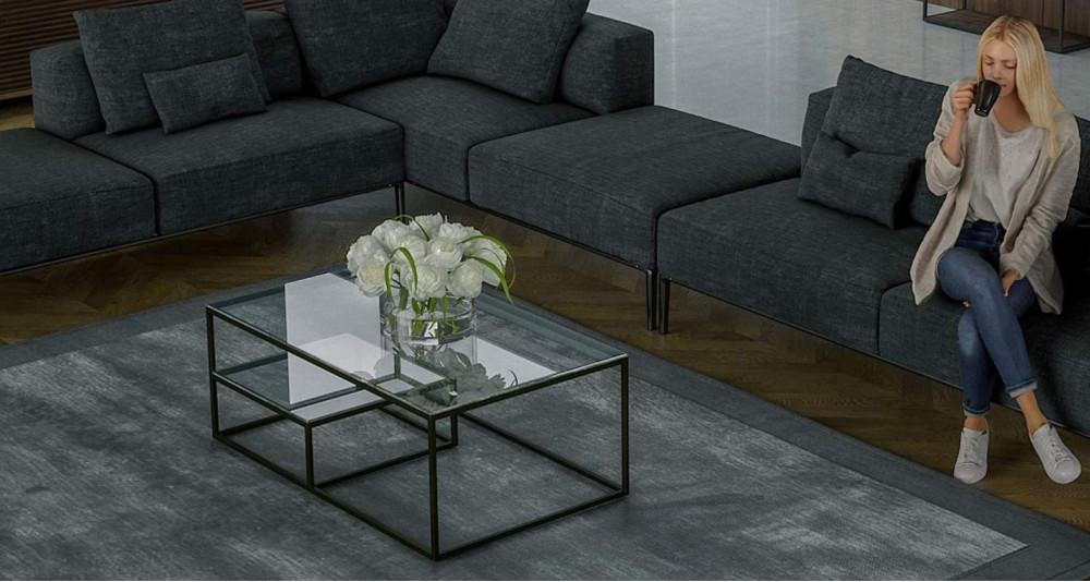 Table basse chic avec étagère en verre Erika - 3 coloris