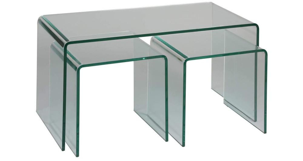 Tables basses gigognes en verre Ivanna