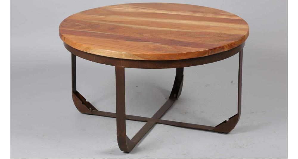 Table basse ronde bois et métal Chilcotin