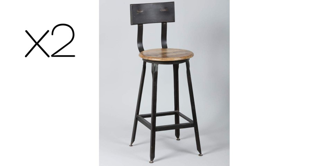 Lot 2 chaises mi hautes en bois et métal Vieux Logis
