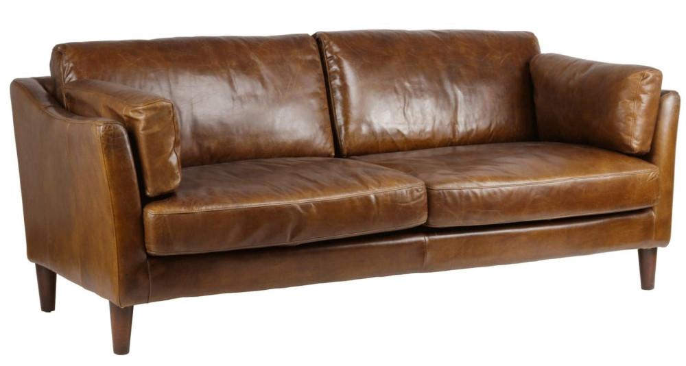 Canapé déco 3 places en cuir marron Louisiane