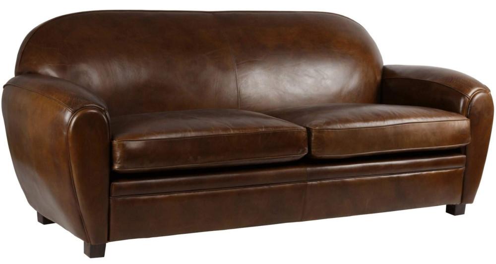 Grand canapé club 3 places en cuir Tuftonboro