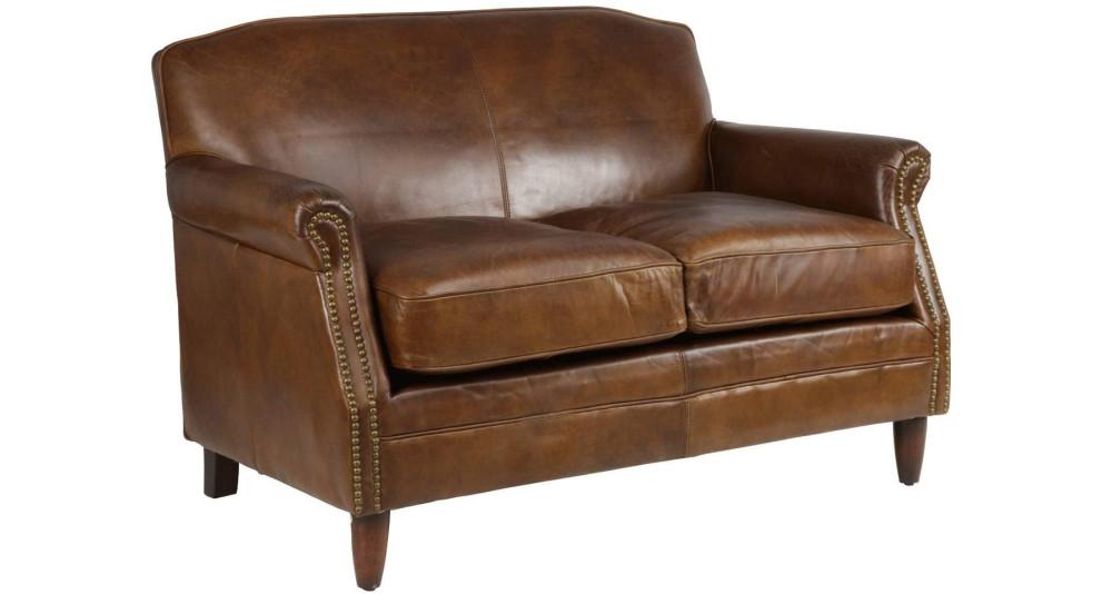 Canapé 2 places en cuir pleine fleur marron Bigelow