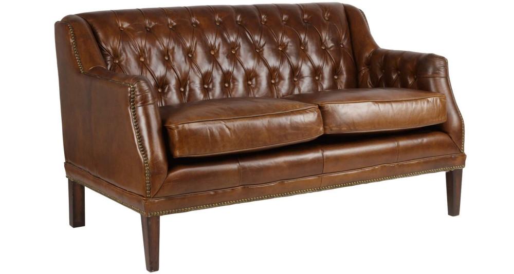 Canapé 2 places en cuir capitonné Westfield