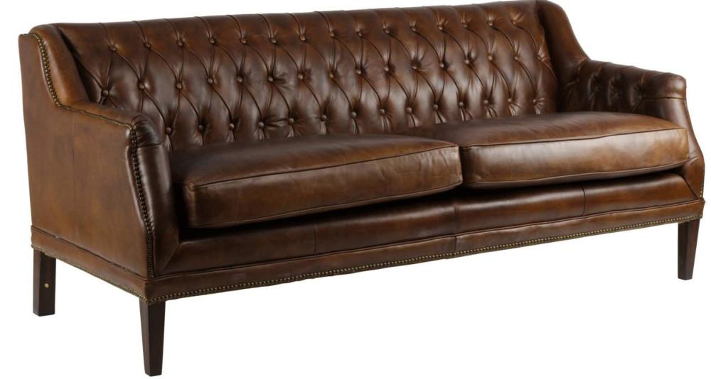 Canapé 3 places chic en cuir capitonné Westfield
