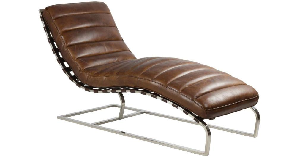 Chaise longue en cuir pleine fleur Moosehorn