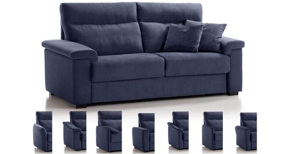 Canapé lit matelas 18 cm à dossier haut Cassiano