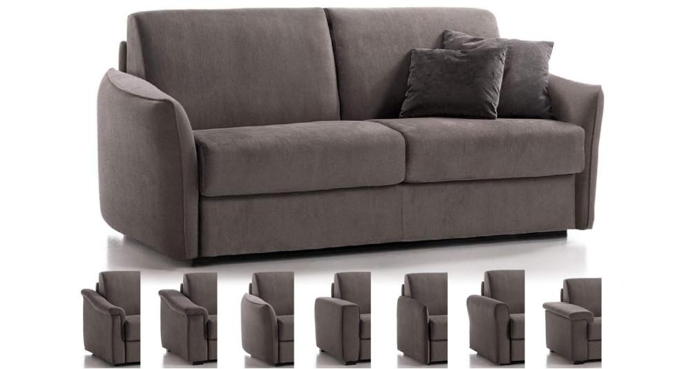 Canapé lit Severina matelas 18 cm - couchage 100 à 160 cm